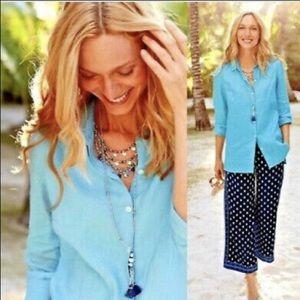 J JILL Shirt Linen L/S Beautiful Aqua Blue Exc L